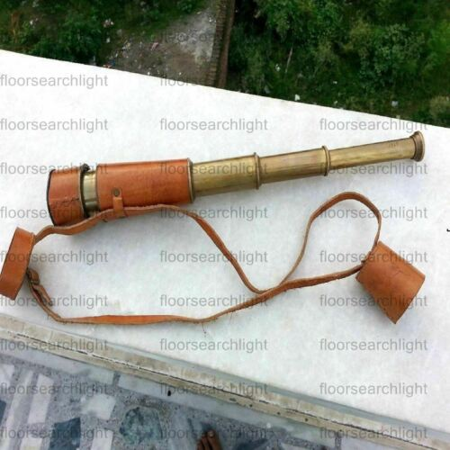 Antique Telescope Navy 16 Inch Nautical Maritime Collectible With Leather Case