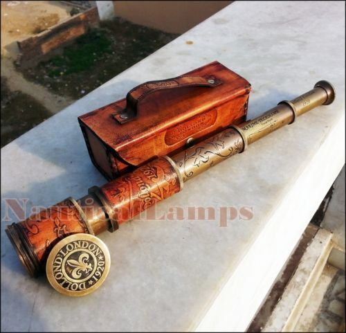 Telescope Antique 16 Inch Spyglass Engraving Scope Pirate Leather Brass Gifts