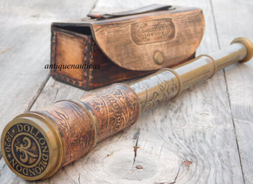 Antique Brass Telescope 16 Inch With Leather Case Collectible Marine Engraved