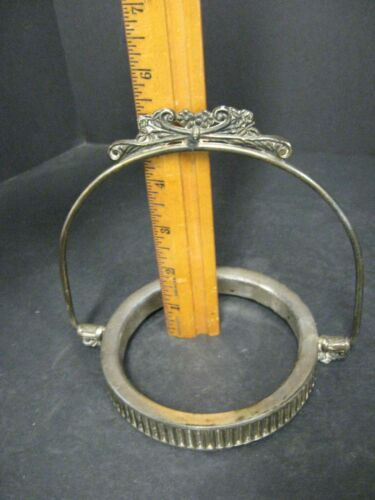 Antique silverplate frame ring and handle for Victorian basket