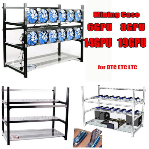 Aluminum Open Air Frame Mining Rig Case 6/8 12/14 GPU Stackable Ethereum ZCash