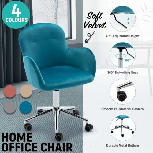 Velvet Office Chair Home Armchair Desk Chair 360° Swivel Tilt Adjustable Chair