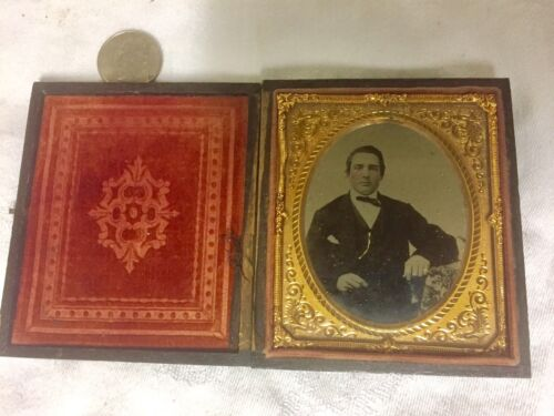 daguerreotype Handsome Young Man Gold Watchfob, Gold Pinky Ring Hand colored