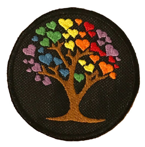 LGBTQ Pride Rainbow Tree Of Life Hearts Embroidered Sew or Iron on Patch (A)
