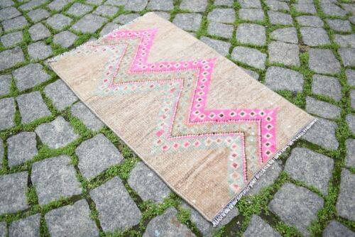 Rare Pink Color Rug 18'' x 34'' Anatolian Kilim Hand-Knotted Small Doormat Rug