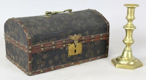 RARE 19TH C BLACK PAINTED LEATHER COVERED DOCUMENT BOX BRASS TACKS PAPER INSIDE