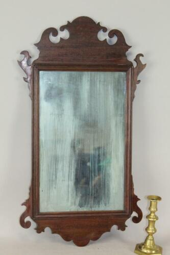 A FINE 18TH C AMERICAN CHIPPENDALE MIRROR IN OLD COLOR FINE SCROLLED CRESTS