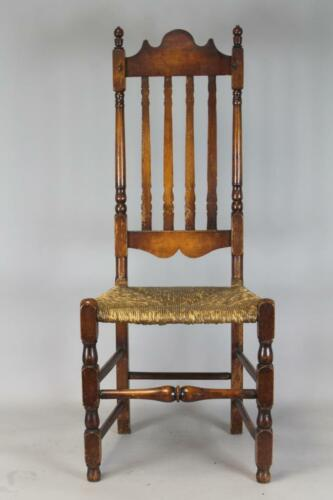RARE 18TH C BOSTON MA BANNISTER BACK CHAIR CLASSIC BLOCKED EXAMPLE AND CREST