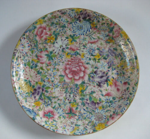 Large Antique Chinese Porcelain Charger Mille Fleur Dish with Mark