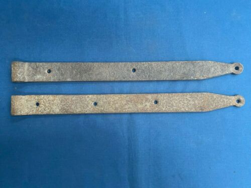 """Pair Antique Rustic Hand Forged Iron Barn Door Strap Hinges 21"""""""