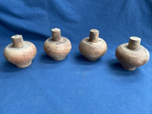 """4 Early Antique Wood Turned Feet 2 1/2"""" Tall Furniture Reclaimed Salvage"""