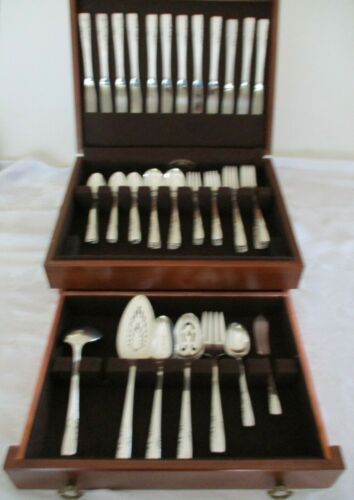 "1881 ROGERS SILVERPLATED 74 PC FLATWARE IN WOOD BOX  ""PROPOSAL"" 1954 PATTERN"