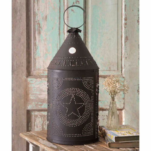 Primitive/Colonial Rustic  Two Foot Tin Star Paul Revere Lamp Free Shipping