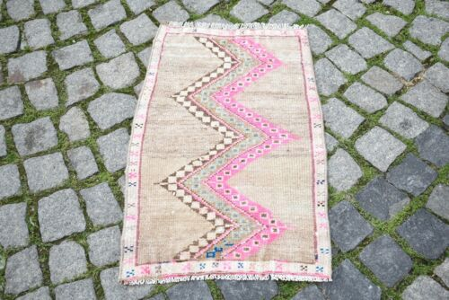 Rare Pink Color Rug 20'' x 29'' Anatolian Kilim Hand-Knotted Small Doormat Rug