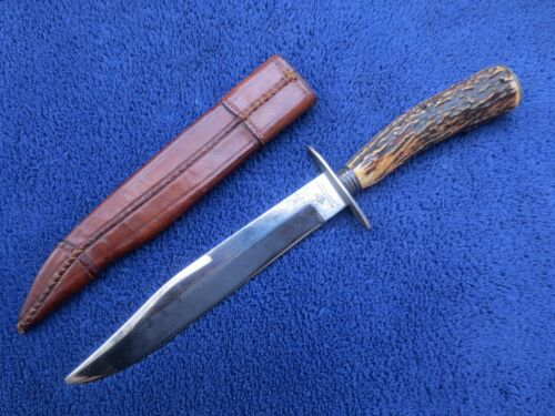 ANTIQUE 19TH CENTURY BOWIE HUNTING KNIFE AND SHEATH JOSIAH BARNES SHEFFIELDFactory Manufactured - 43322