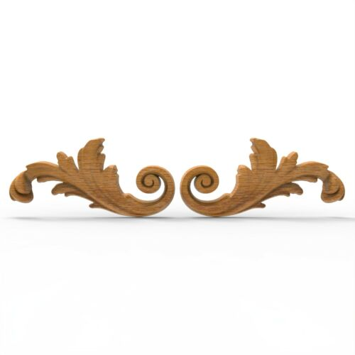 Wood Carved Flower Baroque Applique Leaves Floral Ornament Moulding Furniture 2x