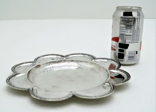 Hand Wrought Solid Silver Serving Tray with Petal Flower Rim Marked LFY 800