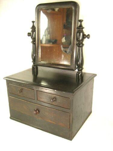 JAPANESE ANTIQUE 3 DRAWER MIRROR STAND VANITY TANSU CHEST WITH SECRET SECTION