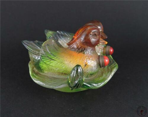 Antique Old Chinese Peking Glass Carved Snuff Bottle DOUBLE MANDARIN DUCKS