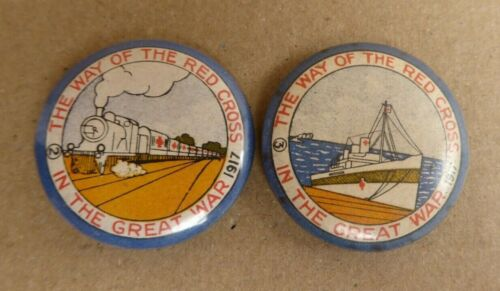 WW1 AIF AUSTRALIA THE WAY OF THE RED CROSS IN THE WAR 1917 2 BADGES TRAIN & SHIP