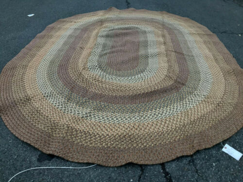 Vintage Braided rug made on a loom 102 inches by 137 inches  rr3577  FREE SHIP