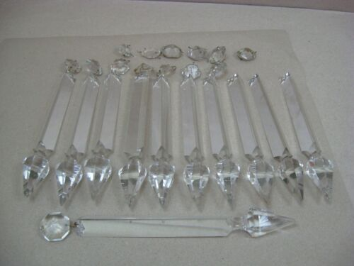 "Antique 11 Cut Crystal Prisms for Oil / Astral Lamp 9"" Spear (Lot 20)"