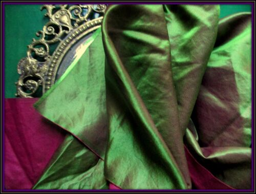 RARE MOST EXQUISITE ANTIQUE VICTORIAN FRENCH IRIDESCENT GREEN SILK FABRIC FRAG