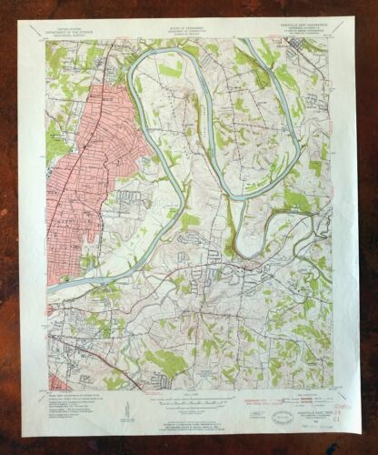 Nashville East Lakewood Tennessee Vintage USGS Topographic Map 1952 Topo