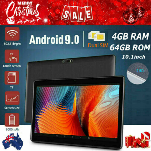 """10.1"""" FHD 4G-LTE WIFI Tablet PC Android 9.0 4+64GB GPS Dual SIM Camera Gifts AU"""