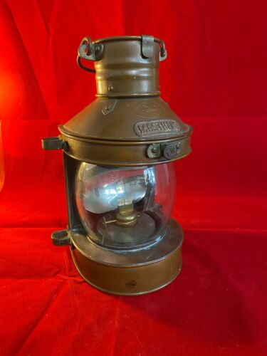 Tung Woo masthead copper vintage ship's oil lamp, early 1900s, nautical