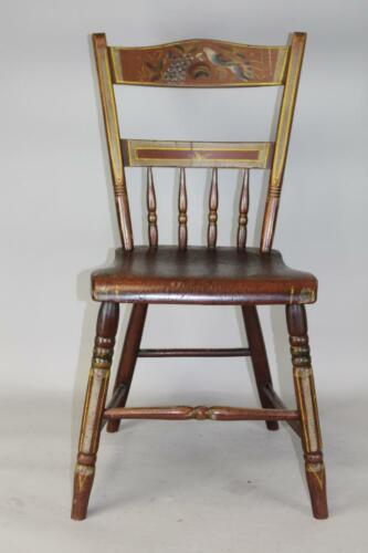 """#2 OF 2 19TH C """"LOVE BIRD"""" PAINT DECORATED STEPDOWN WINDSOR CHAIRS BEST PAINT"""
