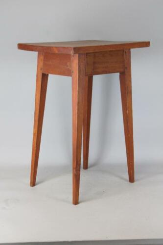 PRIMITIVE 19TH C SPLAY LEG CANDLESTAND LIGHT STAND MAPLE & PINE IN OLD RED WASH