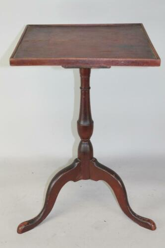 A GREAT 18TH C CT QUEEN ANNE CANDLESTAND ORIGINAL TRAY TOP IN ORIGINAL RED PAINT