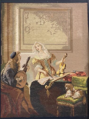 Antique tapestry of Dutch genre scene with lute player and violin with spaniel.