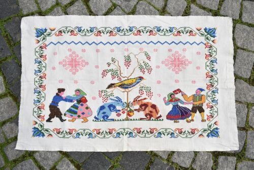 Terrific Turkish Pictorial Cover 24'' x 38'' Embroidered Wall Hangings Piece