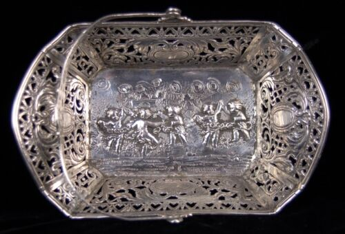 Antique German Handled Basket Repousse Cherubs Putti Dancing .800 Solid Silver