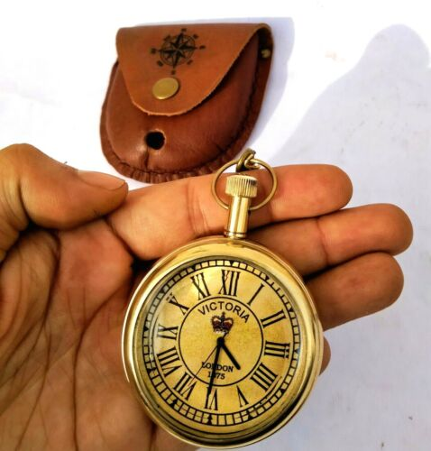 Brass Pocket Watch Chain With Leather Cover Handmade Gift