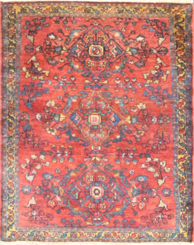 """Antique Lilihan  Oriental Rug ,Red and Blue colors,3'6"""" x 4'4"""" #17128"""