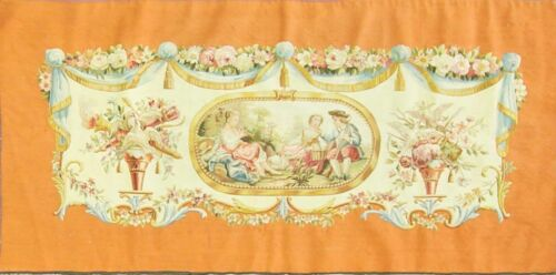 """62"""" x 34"""" Very Fine Aubusson Tapestry Seat Cover Rug Decorative.c-1930's, #16874"""