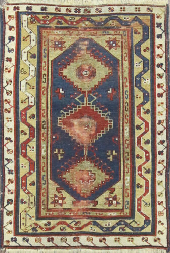 """antique Turkish hand made Oriental Rug, 3'3"""" x 4'10"""", #17292 As Is"""