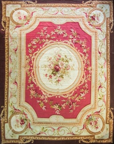 """Antique French Aubusson Carpet 12'2"""" x 16', Fine Tapestry #16977"""