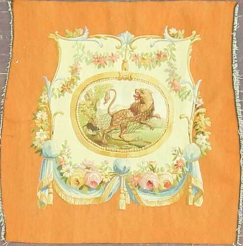 """28"""" x 30"""" Very Fine Aubusson Tapestry Seat cover Decorative Rug.c-1930's, #16875"""