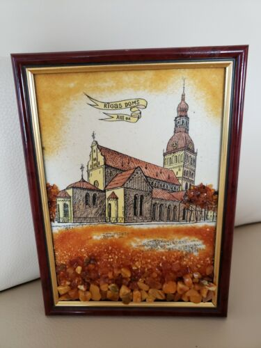 """MCM Latvian Cathedral """"Rigas Dom"""" Artwork, Handcrafted, W/Genuine AMBER At Base!"""