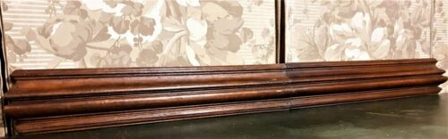 Pair decorative groove wood carving pediment antique french archiectural salvage