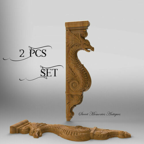 Wood Carved Wall Griffin Corbel Gothic Dragon Fireplace mantel surround Shelf