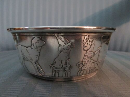 R BLACKINTON Baby BOWL STERLING SILVER 925 Nursery FIGURAL Dog CAT Lamb GOAT 219
