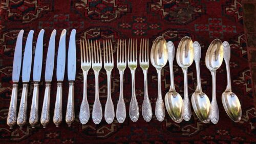 CHRISTOFLE CARDEILHAC STERLING SILVER DINNER SET FOR SIX WITH 18 PIECES
