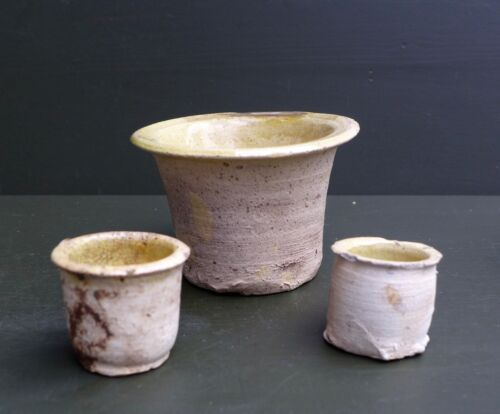 3 Good quality 17th C. Dutch pottery ointment pots found in Holland.