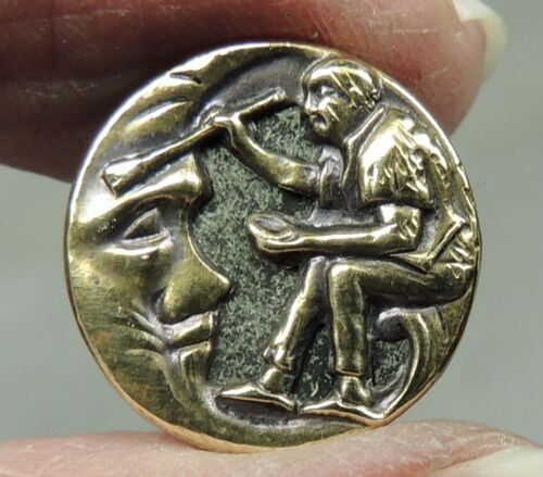 ANTIQUE BRASS PICTURE BUTTON  ~ BRUSHING COBWEBS OFF THE MOON