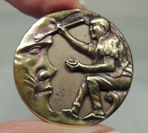 """ANTIQUE BRASS PICTURE BUTTON  ~ BRUSHING COBWEBS OFF THE MOON ~ MEDIUM 1 1/16"""""""